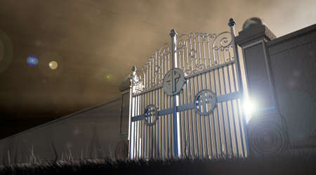 kingdom of heaven: The concept visual of the pearly gates to heaven infront of an ethereal spotlight Stock Photo