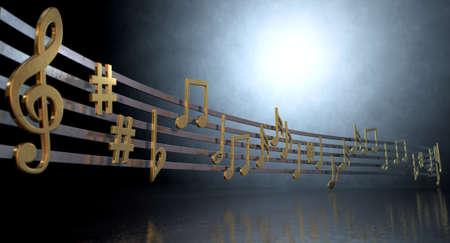 A concept showing literal gold metallic music symbols and notes on the five wavy octave lines on a spotlit background photo