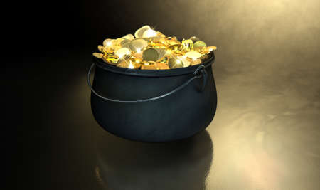cast iron: A cast iron pot filled with gold coins and magical sparkles on a dark eerie spotlit  background