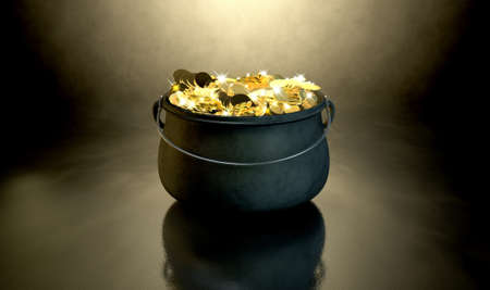 A cast iron pot filled with gold coins and magical sparkles on a dark eerie spotlit  background