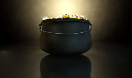 paddys: A cast iron pot filled with gold coins and magical sparkles on a dark eerie spotlit  background