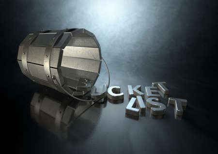 toppled: A toppled over metal vintage bucket charm with letter trinkets spilling out spelling the word bucket list on an isolated dark backlit background