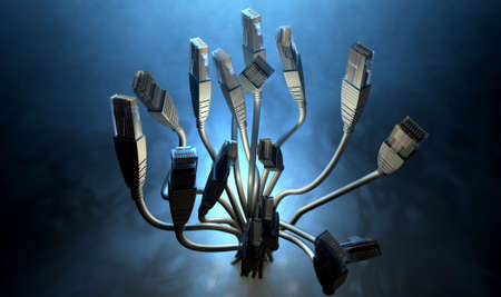 transfers: A bouquet collection of ethernet plugs with chords bundled together and spread out at the ends facing upwards on a dark backlit studio background