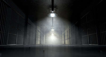 A concept image of an eerie corridor in a prison at night showing jail cells dimly illuminated by various ominous lights Stockfoto