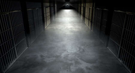 apprehend: A concept image of an eerie corridor in a prison at night showing jail cells dimly illuminated by various ominous lights Stock Photo