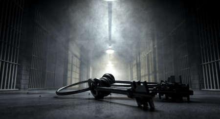 Ein Konzeptbild von einem unheimlichen Korridor in einem Gefängnis in der Nacht zeigt Gefängniszellen schwach von verschiedenen ominösen Lichter und eine Reihe von Zell Schlüssel mit bedrohlich auf den Boden beleuchtet