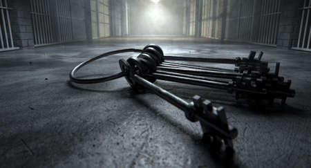 zellen: Ein Konzeptbild von einem unheimlichen Korridor in einem Gef�ngnis in der Nacht zeigt Gef�ngniszellen schwach von verschiedenen omin�sen Lichter und eine Reihe von Zell Schl�ssel mit bedrohlich auf den Boden beleuchtet