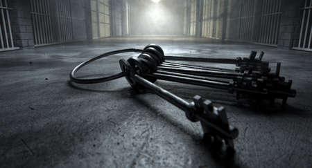 rejas de hierro: Una imagen del concepto de un corredor misterioso en una prisión en celdas de la cárcel la noche que muestra tenuemente iluminada por varias luces siniestras y un manojo de llaves de células por el que se ominosamente en el suelo Foto de archivo