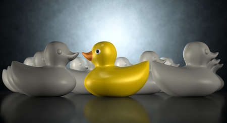 individualist: A non-conformist depiction of a yellow rubber bath duck swimming against the flow of a group of grey rubber ducks on a dark backlit background Stock Photo