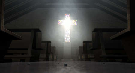 penetrating: A dim old church interior lit by suns rays penetrating through a stained glass window in the shape of a crucifix reflecting colours on the floor in amongst rows of church pews