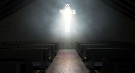 A dim old church interior lit by suns rays penetrating through a stained glass window in the shape of a crucifix reflecting colours on the floor in amongst rows of church pews