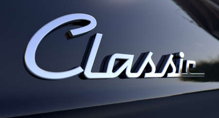 bygone: A closeup view of the word classic writing as a chrome emblem in a retro font