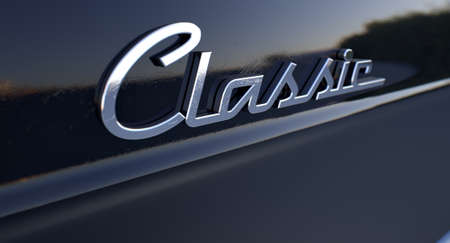 unpretentious: A closeup view of the word classic writing as a chrome emblem in a retro font Stock Photo