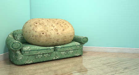 A literal depiction of a potato sitting on an old vintage sofa with a floral fabric i