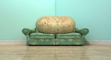 sedentario: Una representación literal de una papa sentado en un sofá de época antigua con una tela floral Foto de archivo