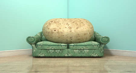literal: A literal depiction of a potato sitting on an old vintage sofa with a floral fabric in the corner of an empty room with light blue wall and a reflective wooden floor