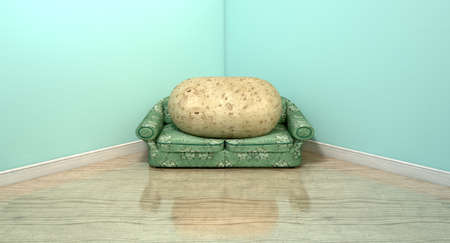 unpretentious: A literal depiction of a potato sitting on an old vintage sofa with a floral fabric  Stock Photo