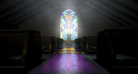 pews: A dim old church interior lit by suns rays penetrating through a colorful stained glass window in the pattern of a crucifix reflecting colours on the floor in amongst rows of church pews Editorial