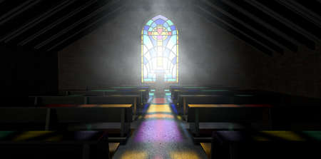penetrating: A dim old church interior lit by suns rays penetrating through a colorful stained glass window in the pattern of a crucifix reflecting colours on the floor in amongst rows of church pews Editorial