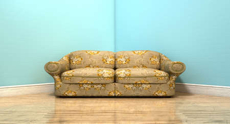 unpretentious: An old vintage sofa with a floral fabric in the corner of an empty room with light blue wall and a reflective wooden floor Stock Photo