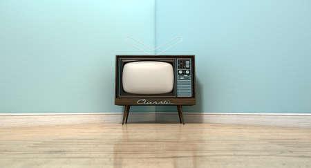 Een oude vintage televisie in de hoek van een lege kamer met licht blauwe muur en een reflecterende houten vloer