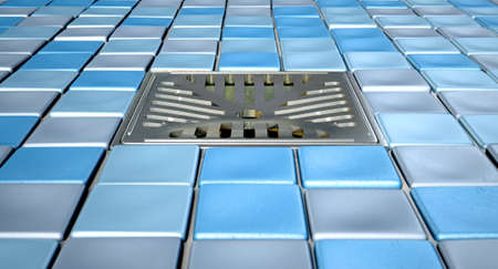 A shower floor decorated with a collection of blue toned small square bathroom mosaics and a chrome drain set in the middle Foto de archivo