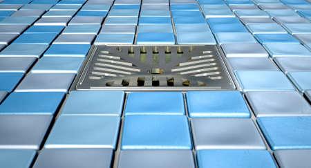 desague: Un piso de la ducha decorado con una colección de tonos azules pequeños mosaicos de baño cuadrados y un desagüe cromado situado en el centro