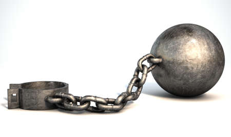 A vintage ball and chain with an open shackle on an isolated white studio background 免版税图像