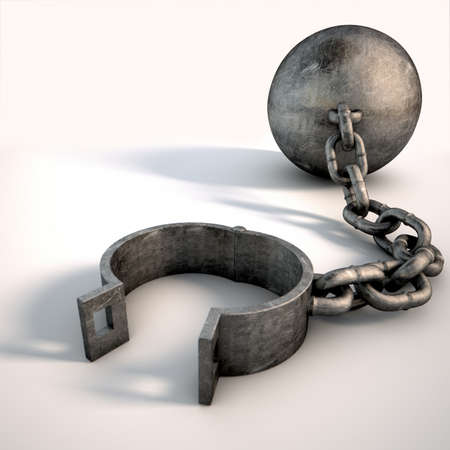prisoner: A vintage ball and chain with an open shackle on an isolated white studio background Stock Photo