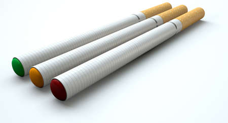 A concept image showing a close up of three regular electronic cigarettes with a glowing tips in red yellow and green lights on an isolated white studio background