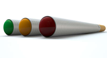 A concept image showing a close up of three regular electronic cigarettes with a glowing tips in red yellow and green lights on an isolated white studio background photo