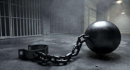 carcel: Una bola de la vendimia y de la cadena con un grillete abierta en un viejo piso del bloque celda iluminada por las luces del techo Foto de archivo
