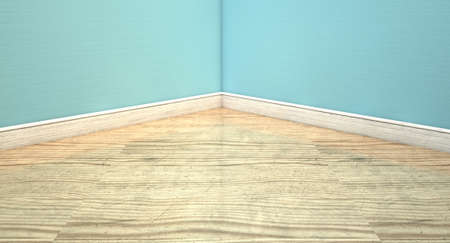 bygone: An empty room with light blue wall and a reflective wooden floor