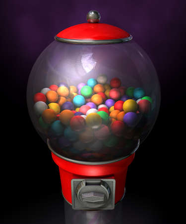 multicolored gumballs: A regular red vintage gumball dispenser machine made of glass and reflective plastic with chrome trim filled with multicolored gumballs on a dark moody  background
