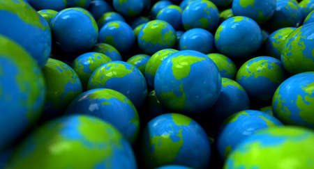 An extreme closeup concept of a collection of gumballs resembling little earth globes photo