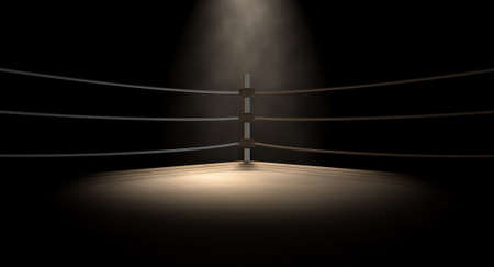 pelea: Una de cerca de la esquina de un viejo ring de boxeo de la vendimia rodeado de cuerdas spotlit por un foco sobre un fondo oscuro aislado Foto de archivo