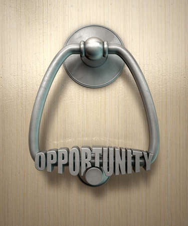 knocker: A metal door knocker with the word opportunity extruded on it munted on a wooden door background with copy space