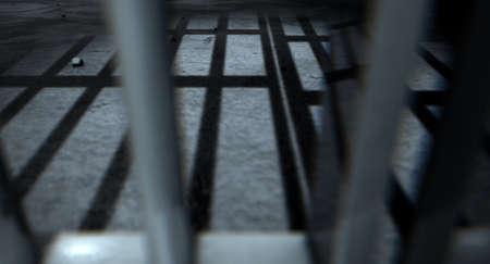 rejas de hierro: Un primer plano de vista de una barras de hierro celdas de la c�rcel que echan sombras en el piso la c�rcel con copia espacio Foto de archivo