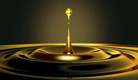 fioul: Un très rapproché d'une goutte d'huile qui crée des ondulations sur un fond noir isolé