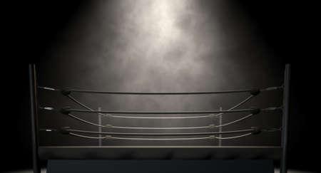 Un viejo ring de boxeo de la vendimia rodeado de cuerdas spotlit en el centro en un fondo oscuro aislado Foto de archivo