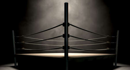 fight arena: An old vintage boxing ring surrounded by ropes spotlit in the middle on an isolated dark background