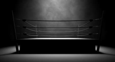 boxing match: An old vintage boxing ring surrounded by ropes spotlit in the middle on an isolated dark background