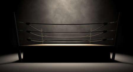 ロープめがけて分離の暗い背景の中に囲まれた古いビンテージ ボクシング リング