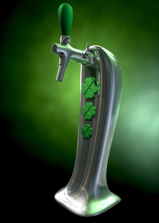 draught: A green irish themed chrome draught beer tap with four-leaf clover symbols on it symbolising st patricks day on a green dark isolated background