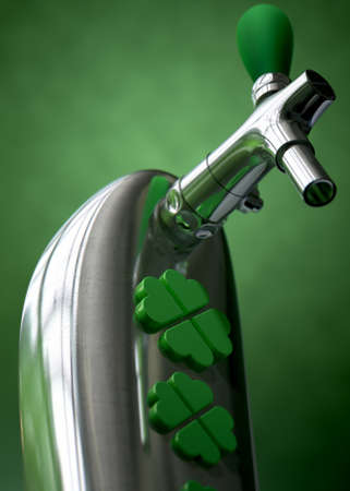 A green irish themed chrome draught beer tap with four-leaf clover symbols on it symbolising st patricks day on a green dark isolated background photo