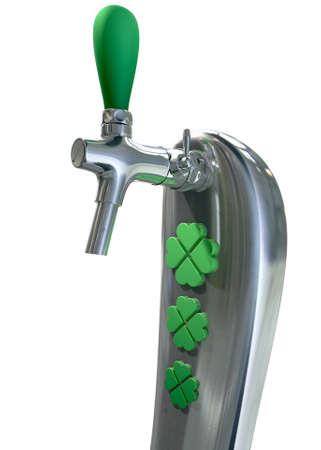 draught: A green irish themed chrome draught beer tap with four-leaf clover symbols on it symbolising st patricks day on an isolated white background