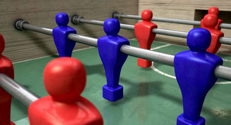 half ball: One half of a foosball table at ground level with a soccer ball in front of the red team ready to kick off a soccer match Stock Photo