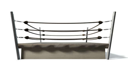 boxing ring: An old vintage boxing ring surrounded by ropes on an isolated white background