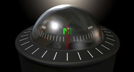 azimuth: A floating liquid compass on an isolated black studio background Stock Photo
