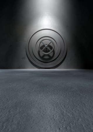The metallic bank vault door in an isolated concrete room photo